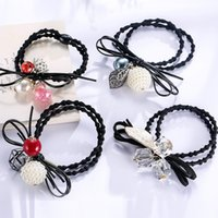 Wholesale Pearl Wholsale - wholsale mix styles crystal pearl sand hair bands stretch rubber bands hair accessories for women scrunchies headwear