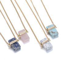 Wholesale Wholesale Druzy Crystal Pendants - Crystal Pendants Necklace for Women Rectangle Natural Stone Pendants Druzy Stone Pendants Necklaces Jewelry 4 Colors