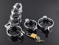Wholesale Newest Chastity Devices - Newest Desige Male Chastity Device Stainless steel Cock Cage Metal Penis Lock bondage Cook ring Sex Toys