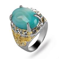 ágata piedra hombres anillo de oro al por mayor-Anillo plateado oro y plata de doble color para hombres incrustado con anillo de hombres de ágata de piedra natural con franja verde