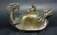 Wholesale Phoenix Teapot - Elaborate Chinese Old Handwork Copper Carved with Dragon Phoenix turtle head statue auspicious Teapot