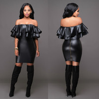Wholesale Black Strapless Leather Dress - fashion Club Sexy Leather Dress Backless Package Hip Dress