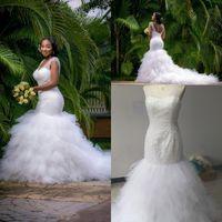 Discount backless wedding dress veils - Luxury Vintage Meamaid Wedding Dresses V-Neck Beads Aradal Bridal Gowns Real Photos Lace Up Blackless Plus Size Wedding Dresses Free Veil