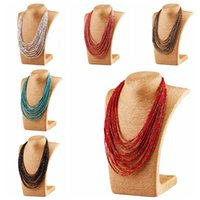 Wholesale Chain Bib Necklace Wholesale - Mix 6 ColorS New Handmade Bohemia Fashion multilayer Resin Seed Beads Chain Choker Bib Necklace statement necklace Jewelry
