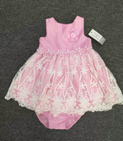 Wholesale Girls Underwear Briefs - Baby Girl Dresses Princess Lace Floral Pink Tutu Dress+Underwear 2pcs Sets 3-24M Infant Sleeveless Skirt Children Clothing