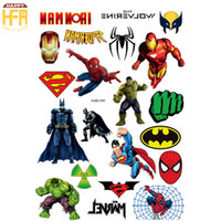Wholesale Stickers Tattoos For Kids - Cartoon Tattoo Stickers Comics Movie Super Hero Tattoos Batman Super Hero Art Stickers Waterproof Body Art Sticker For Kids Children