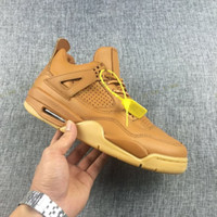 Wholesale Poly Health - 2017 Air Retro 4 Men Basketball Shoes Premium Wheat Ginger Health plastic Yellow Sneakers Mens Athletic Trainers Retros 4s Sport Shoe 7-13
