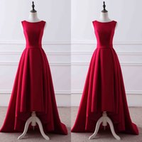 2017 Elegant High Low Prom Kleider Dark Red Prom Kleid Bateau Neck Ärmellos Ruched Rock Formal Abend Party Kleider mit Schärpe
