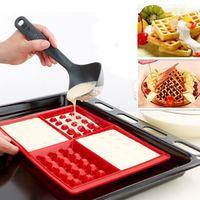 flexible süßigkeiten formen großhandel-Silikon 4-Cavity Waffeln Form Kuchen Schokolade Pan Mold Backform Küche Werkzeuge