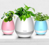 Wholesale Smart Music Flower pots Bluetooth speakers Home Office Decor Planter Plant Flower Pots Night Light Creative Music Toys