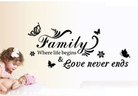Wholesale wall vinyl family love - AW9075 Family Where Life Begins Love Never Ends Quote Vinyl Wall Decal Butterfly Leaves Wall Sticker Home Decor Free Shipping