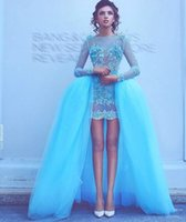 Wholesale Perfect Blue Homecoming Dress - Perfect Short Sequins Prom Dress Long Sleeve Detachable Skirt Tulle Ball Gowns Applique Lace 2017 cheap Party Homecoming Graduation dresses