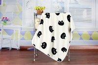 Wholesale Wholesale Coral Fabric - Soft Coral Fleece Fabric Children Blanket Black Cat Head Design Mini Flannel Throw Blanket 100*73 cm