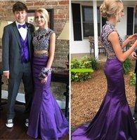 ingrosso vestiti viola viola reggenza-Due pezzi Regency Purple Mermaid Prom Dresses Collo alto Crystal Beading Raso Abiti da sera di lusso 2K17 Abiti da festa Sweep Train