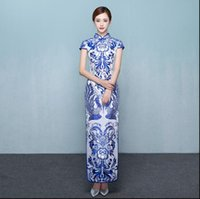 Wholesale Chiffon Multi Way Dress - Blue and white porcelain cheongsam long fashion classic Chinese style restoring ancient ways of cultivate one's morality cheongsam dresses