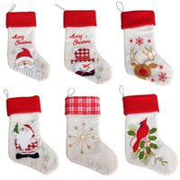 Wholesale Wholesale Christmas Stockings Embroidered - 2017 New Christmas Stocking Gift Bag sack embroidered Christmas socks Santa Claus Snowman Christmas socks Xmas Upscale Gift Bag
