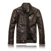 mode leder motorrad jacken großhandel-Großhandels- Männer Motorrad Lederjacken 2016 Neue Modemarke Herren Herbst Winter Fleece Lederjacke Jaqueta De Couro Masculina M-3XL