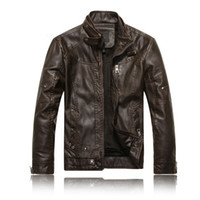 Wholesale orange leather jackets - Wholesale- Men Motorcycle Leather jackets 2016 New Fashion Brand Men's Autumn Winter Fleece Leather jacket Jaqueta De Couro Masculina M-3XL