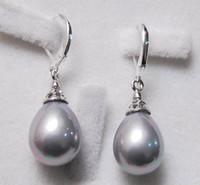 Wholesale South Sea Dangle Pearl Earrings - 12X16MM Grey South Sea Shell Pearl Drop Earrings AAA+