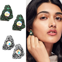 Wholesale Earrings Colorful Stones - Beauty Trend Stud Earrings Small Gravel Stones with Colorful Lenses Exaggerated Earrings Retro stud earrings Factory Price Free Shipping