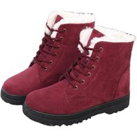 Wholesale Girls Red Waterproof Snow Boot - Women winter warm snow boots girls casual waterproof lace-up ankle boots classic outdoor flat tall boots for women size 35-44 free shiping