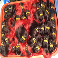 Wholesale Cheapest Brazilian - Cheapest Colored Brazilian Indian Human Hair Weave 10pcs lot Ombre Black Grey Brown Colors wholesale