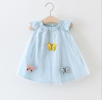 Wholesale Korean Cute Hot - 2 color hot selling Korean style 2017 new arrival girl summer cute Three butterfly Dress high quality cotton dress free shipping