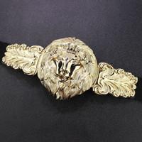 Wholesale Leather Dress Accessories - Wholesale- Womens luxury big Gold Lion Head Belt Designer belts for women Dress Stretchy ceinture femme Woman Fashion Accessory