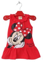 Wholesale Casual Mid Length Beach Dresses - 2017 Cute Baby Girl Minnie Mouse Dress Pink Red 2Colors Clothing High Quality Summer Sleeveless Ruffle Clothe 0-5T Kindergarten School Dress