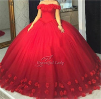 Wholesale Pink Wonderful Ball Gowns - Elegant Red Ball Gown Prom Dresses 2017 Wonderful Tulle Flowers Puffy Boat Neck Cap Sleeve Long Prom Dress Plus Size Occasion Party Gowns