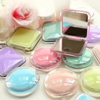 Wholesale Sweet Acrylic Two Face Makeup Mirror Portable Round Folded Compact Mirror Cosmetic Espelho De Bolso For Personalized Wedding Gift