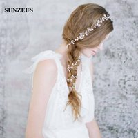 Wholesale Make Wedding Headpieces - Long Hair Chain Hand-made Pearls Bridal Hair Accessories 1M Headband Wedding Hair Sash Accesorios para el pelo de boda Headpieces