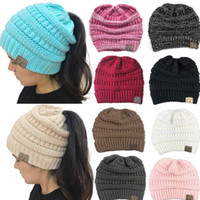 Wholesale Caps Multi Colors - 8 Colors Women CC Ponytail Caps CC Knitted Beanie Fashion Girls Winter Warm Hat Back Hole Pony Tail Autumn Casual Beanies CCA7235