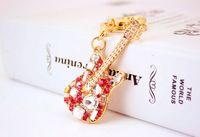 Wholesale Charms For Handbags Gold - Rock Guitar Crystal Rhinestone Musical Instruments Keychain Keyring - Car Key Chain Rings Handbag Bag Charm Pendants For Women
