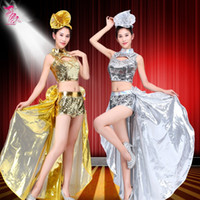 Wholesale Long Rosette Skirt - gold silver long sex dress costumes female Modern dance costume stage clothes fashion paillette expansion skirt nightclub show