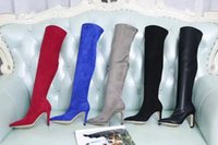 Wholesale Designer Soft Shoes - 2017 New Designer High Quality New Zip Boot For Woman Thigh-High Boots Genuine Real Leather Stretch Cone Heel Black Red Blue Gary Shoes