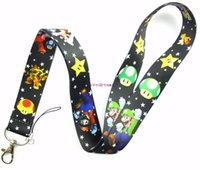 Wholesale Mario Bros Lanyard - 10 Pcs Super Mario Bros Mobile Phone Necklace Strap Lanyards ID Card Hold