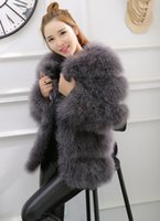 Wholesale Women Real Fur Coat New - Autumn winter new women's luxury real natural ostrich fur cotton-padded thickening medium long parka coat leather patchwork long sleeve top