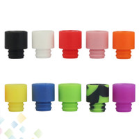 Wholesale E Cigarette Colorful Drip Tips - Colorful Disposable Silica Gel Drip Tip Silicone 510 Mouthpiece Wide Bore E Cigarette fit RDA Atomizer High quality DHL Free