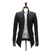 Wholesale High Collar Trench Coat - Wholesale- 2015 Hot Sale High quality autumn and winter trench coat men casual stand collar mens overcoat