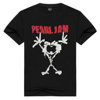 calções de geléia venda por atacado-Novo Verão 2017 Elegante Pearl Jam Band Impressão 3D Homens de Manga Curta Americana Hard Rock dos homens T-shirt Preto Tamanho S-3XL