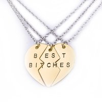 Wholesale Bitch Gifts - 2017 Best Bitches Friend forever Pendant Necklace Hot Sale New Style broken heart hot selling European Fine BFF Jewelry Jewelry zj-0903186-6