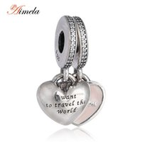 Wholesale Travel Charms Sterling Silver - Wholesale- 925 Sterling Silver Pink Enamel Heart Travel Together Forever Dangle Charms with AAA Cubic Zirconia For Women Bracelets DIY