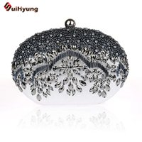 Wholesale Hand Bags Shoulder Lace - Wholesale- New Ladies Hand-beaded Evening Bag Fashion Diamond Pearl Oval Clutch Tote Wedding Party Bridal Handbag Wallet Women Shoulder Bag
