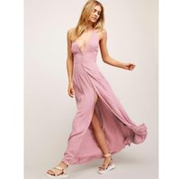 Wholesale High Neck L Halter Dresses - 2017 summer maxi long halter beach V collar cotton dress sleeveless holiday boho dress high split sexy dress