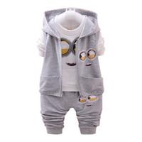 Wholesale Minion Clothes - newest 2017 autumn baby girls boys minion suits infant newborn clothes sets kids vest +t-shirt+pants 3 pcs sets children suits