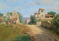 """Wholesale Italian Oil - Framed ITALIAN PAINTING """"BORGO TOSCANO"""" TUSCANY COUNTRYSIDE,Hand Painted Art oil painting On Thick Canvas,Multi sizes Free Shipping YDL04"""