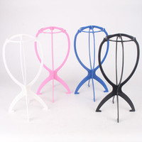 Wholesale Hat Folding - Folding Plastic Wig Stand Stable Durable Hair Support Display Wigs Hat Cap Holder Tool Rosy Blue Black White Color Free Shipping