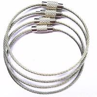 llavero de alambre al por mayor-Cable de acero inoxidable Llavero cuerda de alambre llavero mosquetón Cable llavero llavero llavero para excursiones al aire libre