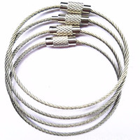 paslanmaz çelik anahtarlık zincir toptan satış-Paslanmaz Çelik Tel Anahtarlık tel halat anahtarlık Açık Yürüyüş için Carabiner Kablo Anahtarlık Anahtarlık